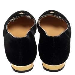 حذاء فلات شارلوت أوليمبيا قطيفة أسود كيتي سليب أون مقاس 39