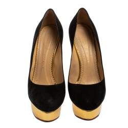 Charlotte Olympia Black Suede Dolly Platform Pumps Size 38.5