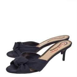 Charlotte Olympia Black Canvas Lola Sandals Size 37