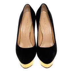 Charlotte Olympia Black Velvet Dolly Pumps Size 38