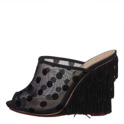 Charlotte Olympia Black Suede And Mesh Wedge Mule Sandals Size 36
