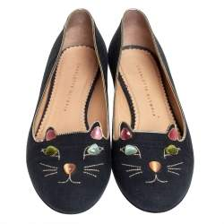 Charlotte Olympia Black Fabric And Patent Leather Emoticats Cheeky Kitty Ballet Flats Size 39.5