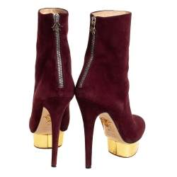 Charlotte Olympia Burgundy Suede  Ankle Boots Size 36