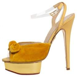 Charlotte Olympia Yellow Velvet And Fabric Knot Platform Ankle Strap Sandals Size 40