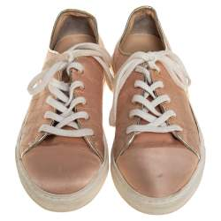 Charlotte Olympia Peach Satin Web Low Top Sneakers Size 36.5