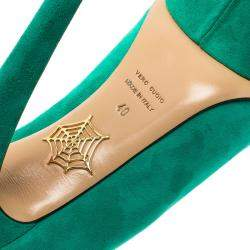 Charlotte Olympia Green Suede Dolly Platform Pumps Size 40