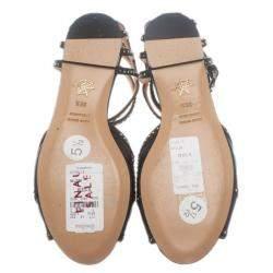 Charlotte Olympia Black Studded Leather Octavia Strappy Sandals Size 35.5