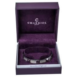 Charriol Steel Forever Studded Twisted Cable Cuff Bracelet L