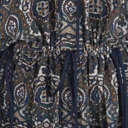 Chloe Printed Silk Chiffon Drawstring Detail Long Sleeve Sheer Blouse  M