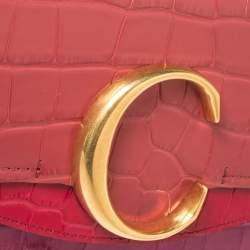 Chloe Multicolor Croc Embossed Leather Mini C Top Handle Bag