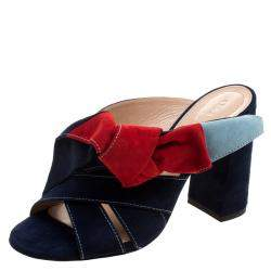 Chloe Navy Blue Suede Nellie Bow Mules Size 38