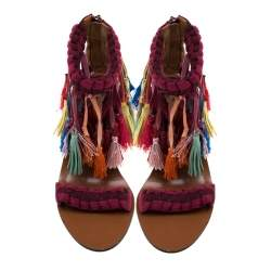 Chloe Multicolor Leather And Suede Tassel Detail Block Heel Sandals Size 36