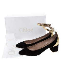 Chloe Black Suede And Gold Leather Block Heel Ankle Strap Pumps Size 39