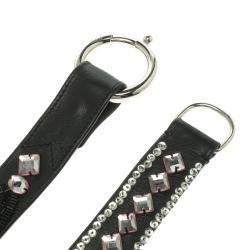 Chloe Black Leather Stone Embellished Belt 80cm