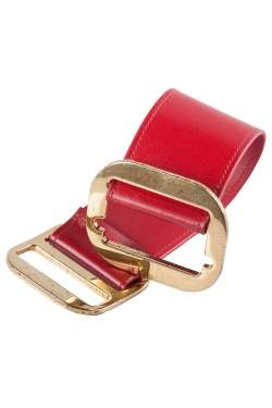 Chloe Red Leather Gold Tone Wide Bracelet