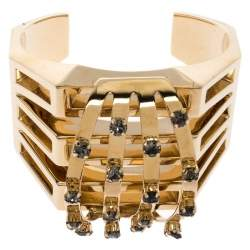 Chloe Crystal Embellished Gold Tone Statement Open Cuff Bracelet