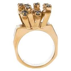 خاتم كلوي كوكتيل مرصع كريستال ذهبي مقاس 56