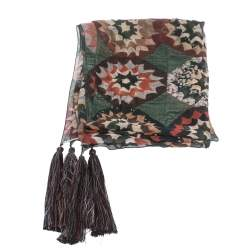 Chloe Multicolor Rosace Patchwork Printed Crinkled Silk Stole