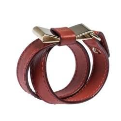 Chloe Leather Bow Motif Gold Tone Double Wrap Bracelet