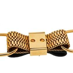 Chloe Gold Tone Metal Leather Bow Detail Chain Necklace