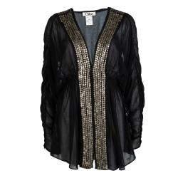 Chloe Black Cotton Voile Embellished Tunic M
