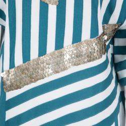 Chloe Aqua Blue and White Striped Knit Metal Sequin Embellished Dress