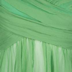 Chloe Green Pleated Crinkled Chiffon Noodle Strap Top S
