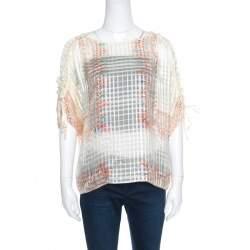 Chloe Cream Drawstring Sleeve Detail Printed Silk Sheer Top M