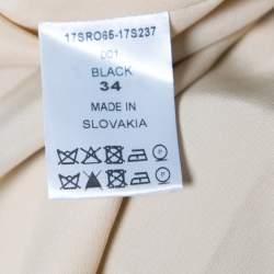 Chloe Black V-Neck Gathered Waist Long Sleeve Dress S