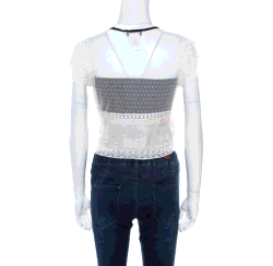 Chloe Off White Lace Contrast Velvet Tie Scallop Trim Detail Cropped Top S