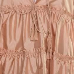 Chloe Peach Silk Tasseled Tie Up Tiered Parachute Top M