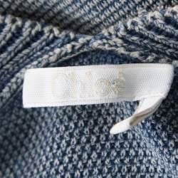 Chloe Indigo Washed Effect Knit Fringed Trim V-Neck Top S