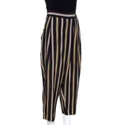 Chloé Multicolor Rough Striped Silk Cropped Trousers M