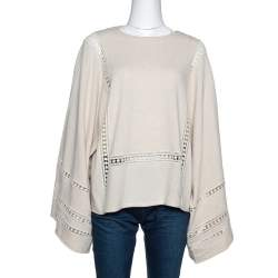 Chloé Beige Cashmere Wool Guipure Detailed Oversized Sweater S
