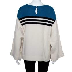 Chloe Cream & Blue Striped Cashmere Wide Sleeve Sweater M