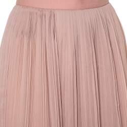 Chloe Pink Silk Chiffon Pleated Midi Skirt S