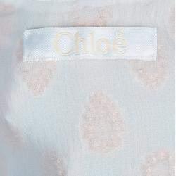 Chloe White Lurex Silk Jacquard Sleeveless Top M