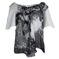 Chloe Monochrome Printed Sheer Chiffon Short Sleeve Blouse S