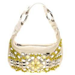 Chloe Cream Canvas Multi Stone Embellished Shoulder Bag