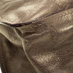 Chloe Metallic Dark Beige Leather Medium Marcie Satchel