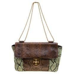 Chloe Brown/Green Python Large Elsie Shoulder Bag