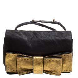 Chloe Black Leather Gold Bow Flap Clutch