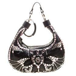 Chloe Black Leather Crystal Embellished Crescent Hobo