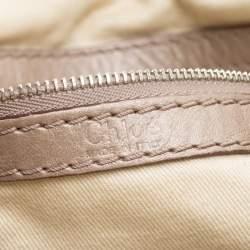 Chloe Metallic Beige Leather Tote