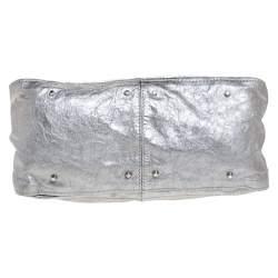 Chloe Metallic Silver Leather Large Paddington Satchel