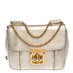 Chloe Metallic Gold Leather Small Elsie Shoulder Bag