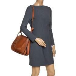 Chloe Brown Perforated Leather Hayley Shoulder Bag