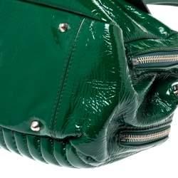Chloe Green Patent Leather Double Zip Pocket Satchel