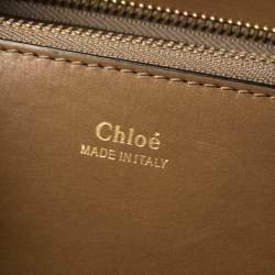 Chloe Khaki Python Charlotte Shopper Tote