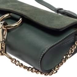 Chloe Blue Leather and Suede Mini Faye Crossbody Bag